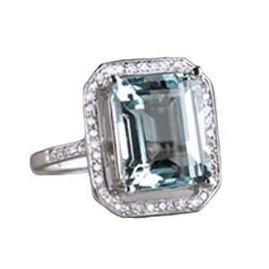 14k White Gold, Emerald Cut Aquamarine & Diamond Ring (4