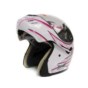 Pink Butterfly Modular Flip up Full Face Motorcycle Helmet