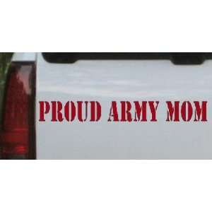 Proud Army Mom Military Car Window Wall Laptop Decal Sticker    Red