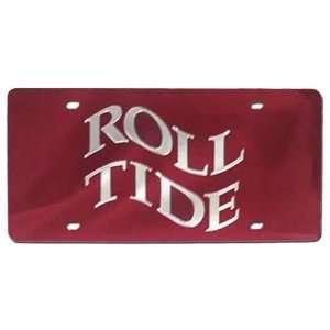 Alabama Crimson Tide Roll Tide Wavy Red Mirror License