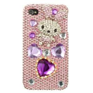 Iphone 4 Full 3d Diamond Case Cover Hot Pink Silver Rabbit