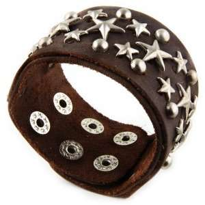 Genuine Star Studded Leather Bracelet   BROWN Jewelry