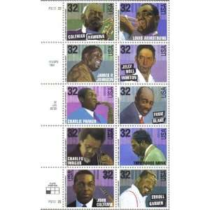 1995 JAZZ MUSICIANS #2992a Block of 10 x 32 cents US