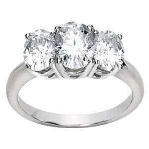 3.37 CT TW Moissanite 3 Stone Oval Cut Ring/14kt white
