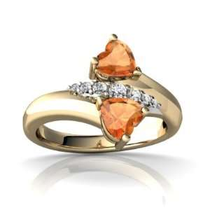 14K Yellow Gold Heart Fire Opal Bypass Ring Size 4.5