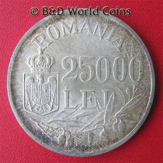 ROMANIA 1946 25000 25,000 LEI SILVER MIHAI I 32mm KM#70