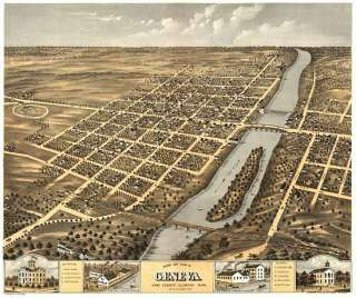 Antique Map Geneva Illinois 1869 Kane County