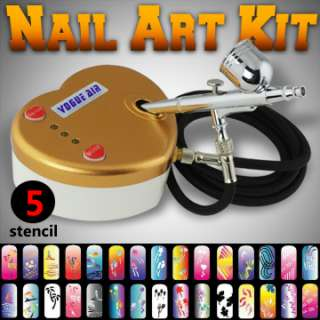 New 5 Nail Stencil Sheet Dual Action Airbrush Kit Air Compressor Hobby