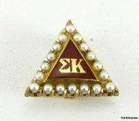 SIGMA KAPPA   10K GOLD Sorority 1924 Pearl Badge PIN