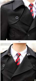 Mens Slim Fit Double Breast Trench Coat Jacket US XS M