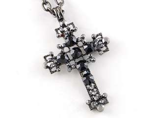 Gothic Black Rhinestone Crystal Cross Pendant Necklace