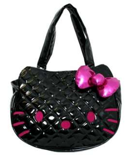 Tote Bag HELLO KITTY NEW Sanrio Cat Black Quilted Face Anime Licensed