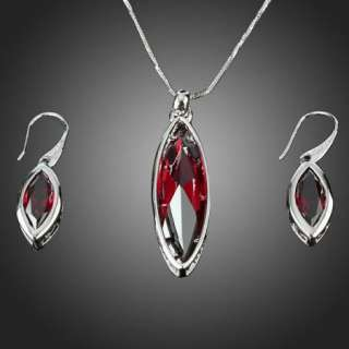 Lady Ruby Teardrop Shape Necklace Earring White GP Swarovski Crystal