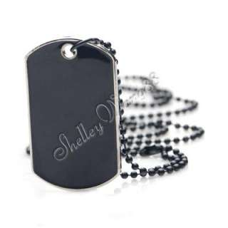 Black Stainless Steel Military Dog Tag Blank Pendant Necklace Chain