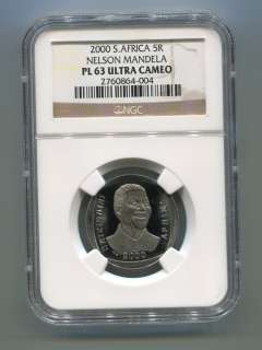 NGC PROOF PL 63 SOUTH AFRICA Nelson Mandela R5 Year 2000 Coin