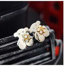 0728 Rhinestone Flower Little Teddy Bear Stud Earrings