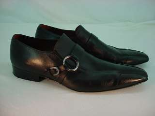 AVVA Black Mens BLACK LEATHER BUCKLE SHOES Sz 12 DRESS