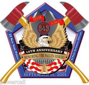 Firefighrter Decal Sticker   10th Anniversary Decal 2 x 2 Pentagon