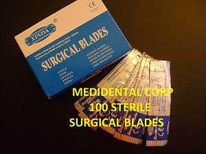 100 SURGICAL BLADES #11 + 1 SCALPEL HANDLE # 3 DENTAL MEDICAL VET