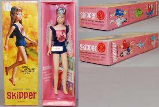 Barbie #1030 Skipper 1965 Bendable Legs, Brunette, 2 Part Box MI