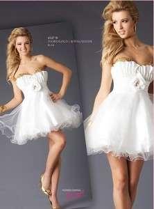 New white short Mini princess Wedding Dress Bride Gown 4 6 8 10 12 16
