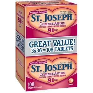 St. Joseph Aspirin, Adult Low Strength, 81 mg, Orange