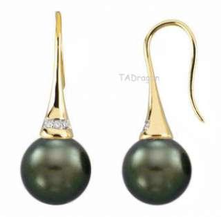5mm Tahitian Black Pearl 14K Gold Diamond Hook Earrings