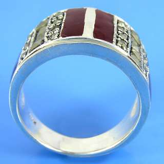 925 Sterling Silver Marcasite MOP Red Ring (YSR 138 3)