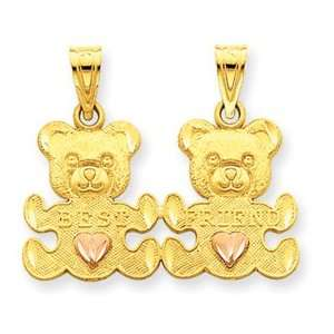 14k Two Tone Diamond Cut Teddy Bear Break apart Charm: Jewelry