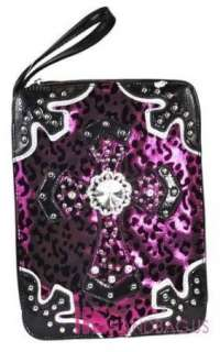 RARE~ BLING CRYSTAL CROSS METALLIC MESH LEOPARD PRINT BIBLE BOOK COVER