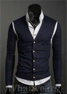 Mens Casual V  Neck Slim Sweater Cardigan Dark Blue W07