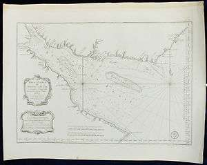 MAPA DEL RIO DE LA PLATA 1770 BELLIN, LARGE FORMAT MAP OF THE RIVER
