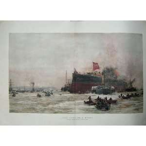 Birth Titan War Ship Boats Sea Battle Wyllie Fine Art Home & Kitchen