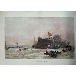 Birth Titan War Ship Boats Sea Battle Wyllie Fine Art Home & Kitchen