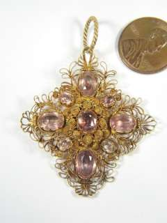 ANTIQUE 18K GOLD PINK TOPAZ CANNETILLE PENDANT c1830
