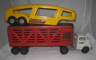 1960s STRUCTO TRUCK WITH CATTLE LIVESTOCK & AUTOHAULER TRAILERS