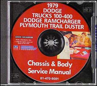 1979 Dodge Pickup Shop Manual CD Red Express Warlock