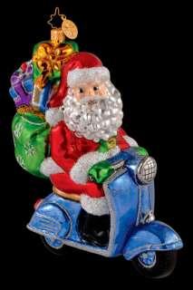 RADKO ROAMING HOLIDAY Santa on Scooter Glass Christmas Ornament NEW