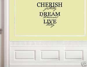 CHERISH YESTERDAY DREAM Vinyl Wall Lettering Quotes Art