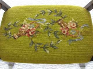 Vintage Antique Needlepoint Wood Wooden Needlepoint Floral Foot Stool