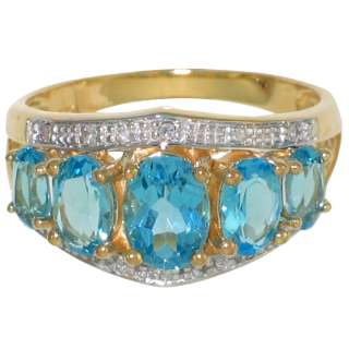 10K SOLID YELLOW GOLD GENUINE BLUE TOPAZ & DIAMOND RING