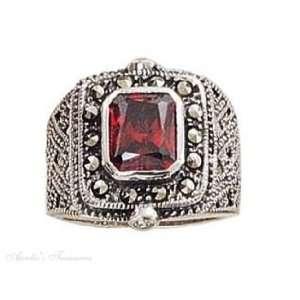Sterling Silver Marcasite Wide Filigree Imitation Garnet Ring