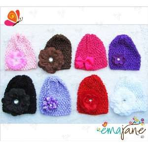 of Super Soft Crochet Baby Beanie Waffle Hats with Ema Jane Baby Hair