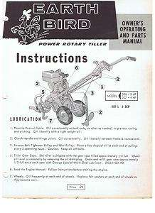 GARDEN TILLER EARTH BIRD OWNERS PARTS MANUAL GEORGE TOOL CO. YARD MAN