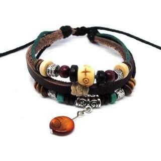 Ethnic Surfer Hemp Leather Bracelet Wristband Cuff Leaf