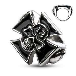 316L Stainless Steel Lucky 13 Skull Celtic Cross Cast Ring