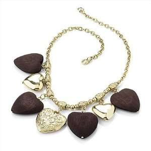 Gold & Wood Heart Charm Necklace (Gold Plated)   42cm Length Jewelry