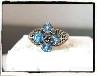 Vintage Style Sterling Silver 925 Genuine Blue Topaz Sapphire Filigree