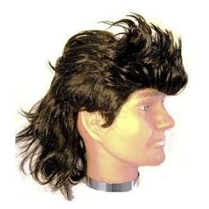 70s Black Mullet Mens Fancy Dress Wig Inc FREE Wig Cap