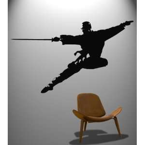 Wall Decal Sticker Chinese Kung Fu Sword in Flight Martial Arts #371